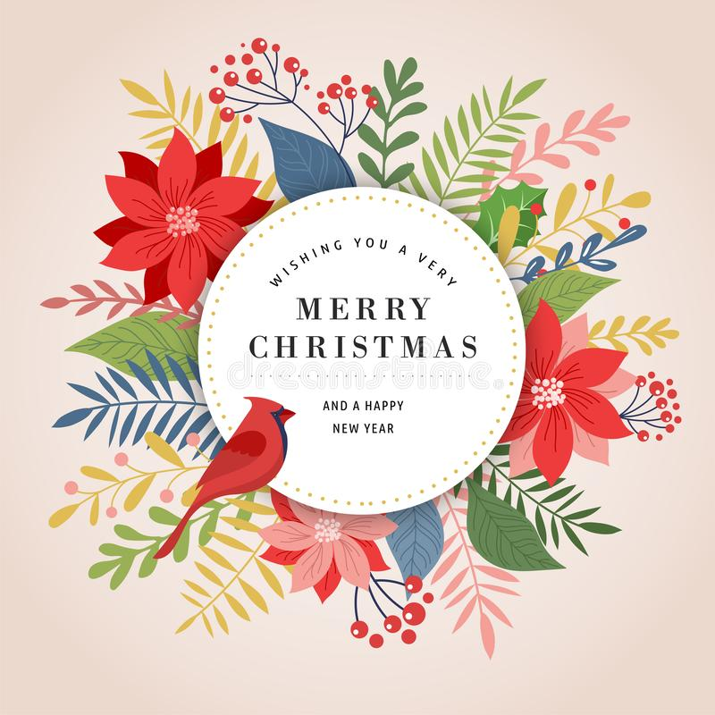 Merry Christmas greeting card, banner and background in elegant, modern and classic style with leaves, flowers and bird. Merry Christmas greeting card template stock illustration
