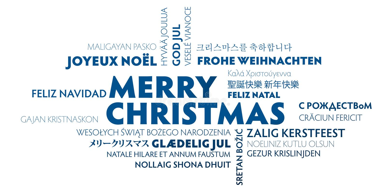 Merry christmas greeting card - blue and white vector illustration