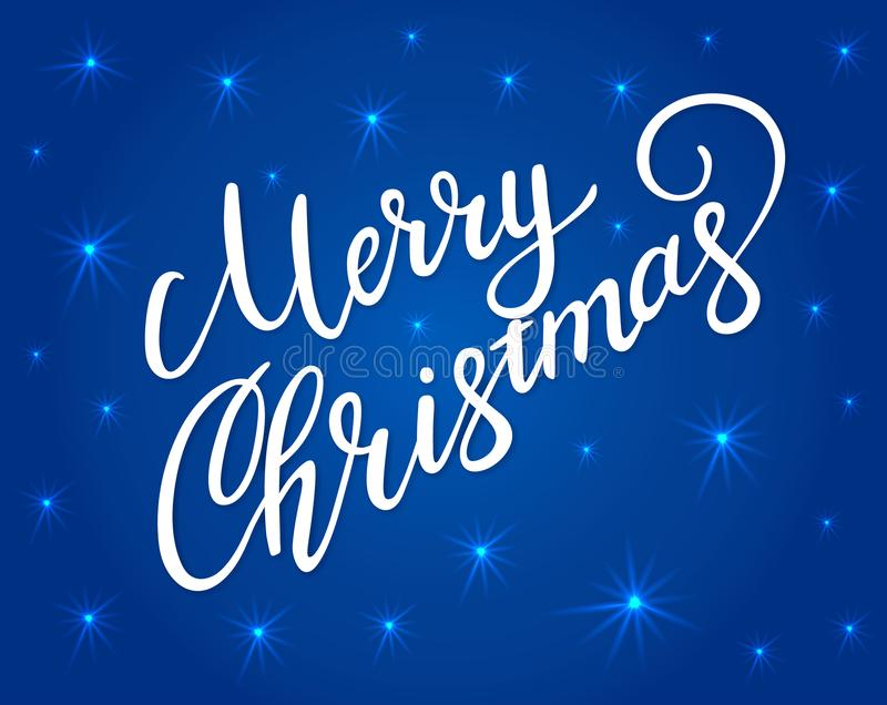 Merry Christmas greeting card with bright white lettering and shining stars. Vector lettering for banners or card on a dark blue royalty free illustration