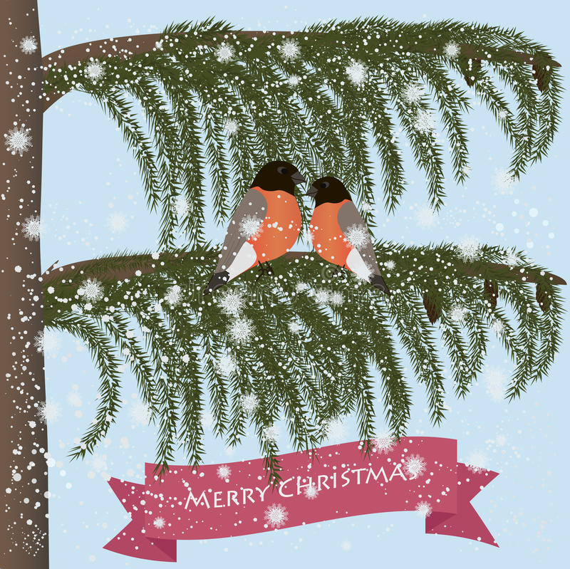 Merry Christmas greeting card. With bullfinches stock illustration