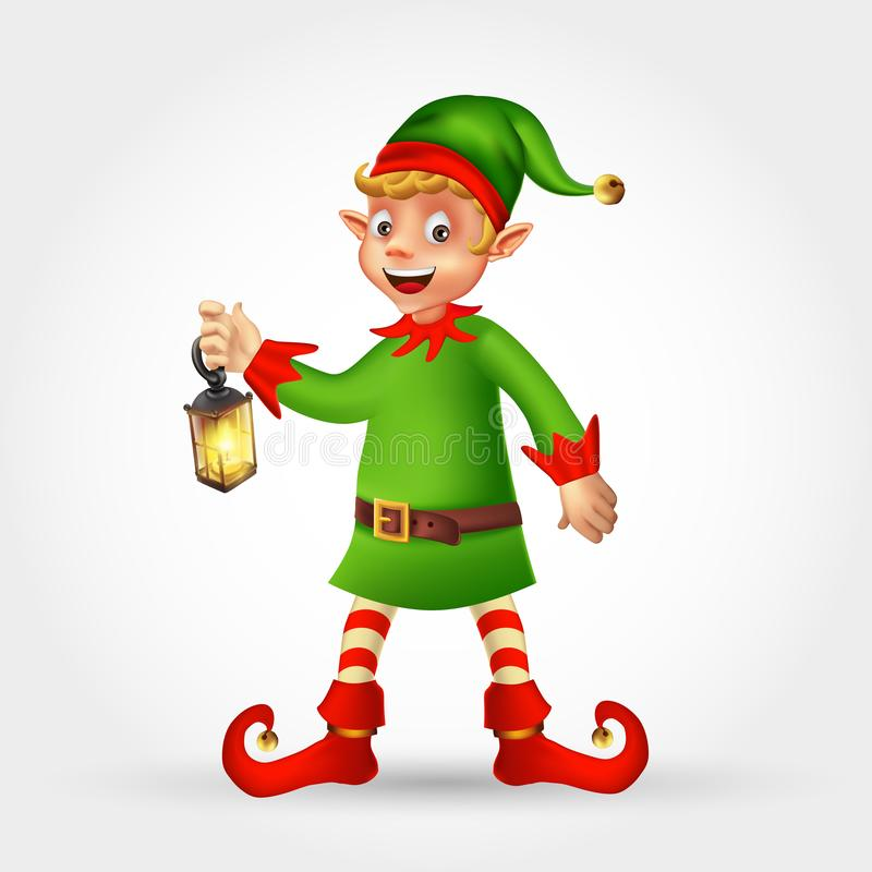 Merry Christmas greeting card with cartoon elf holding lantern royalty free stock photo