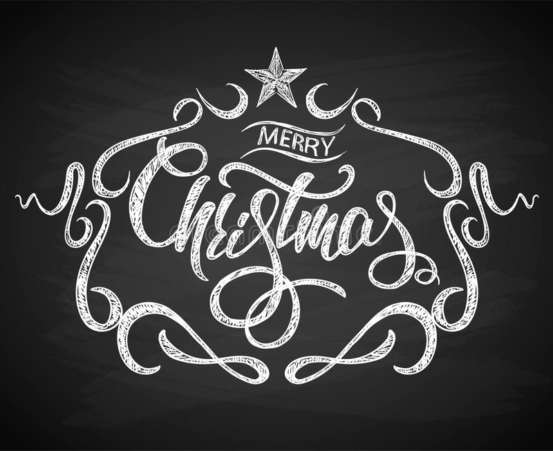 Merry Christmas Greeting Card with Chalk drawn Calligraphy lettering and background chalkboard. vector illustration
