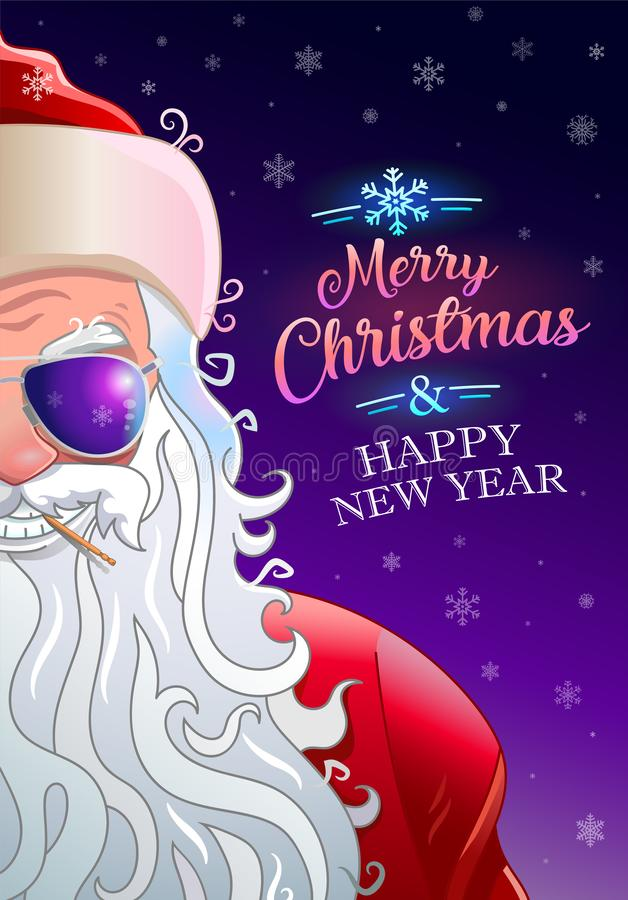 Merry christmas greeting card with cool santa claus royalty free illustration