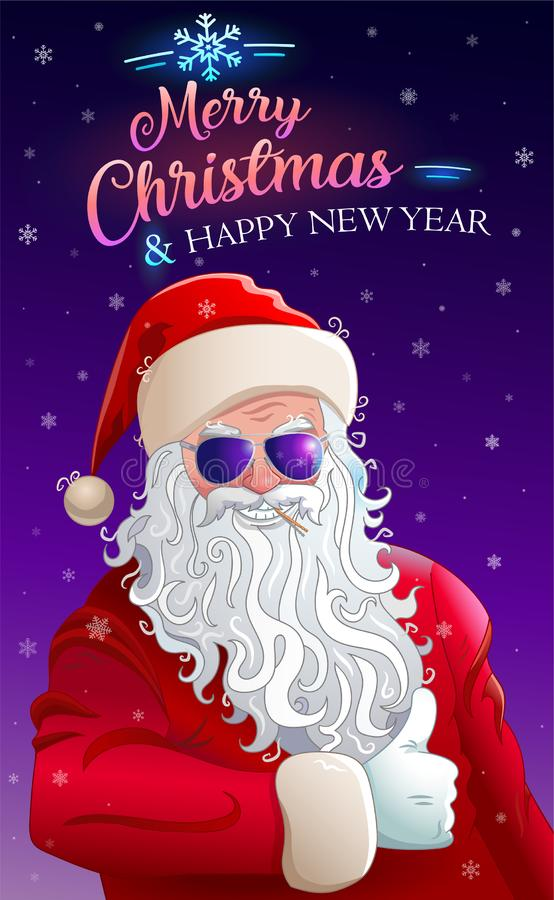 Merry christmas greeting card with cool santa claus stock illustration