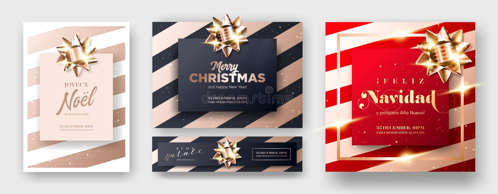 Merry Christmas 2019 Greeting Card Covers. vector illustration