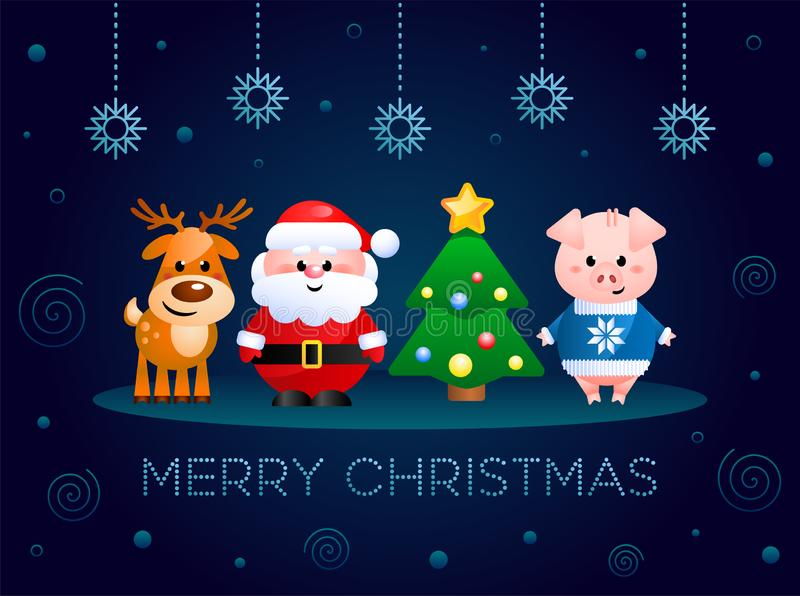 Merry Christmas. Greeting card with cute cartoon characters. Santa Claus, Pig and Reindeer with Christmas tree. royalty free illustration