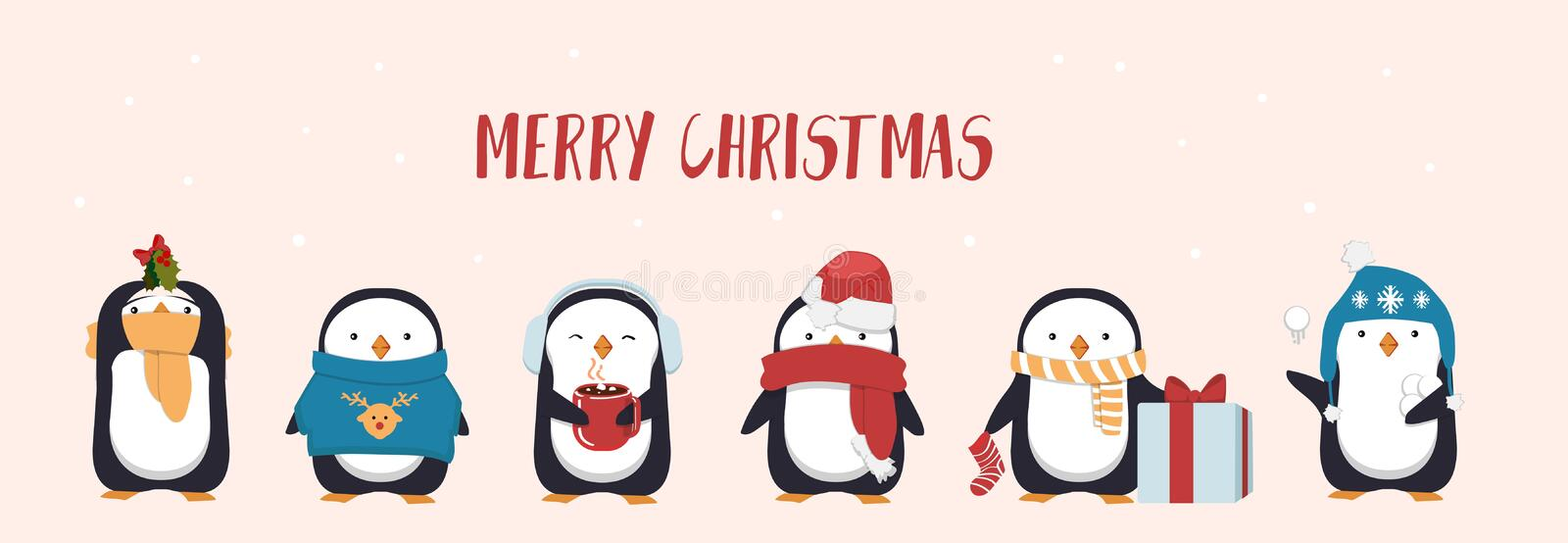Merry Christmas greeting card with cute penguin. Seasonal character penguins wearing hats, scarf and holding gifts and mugs. Flat vector illustration