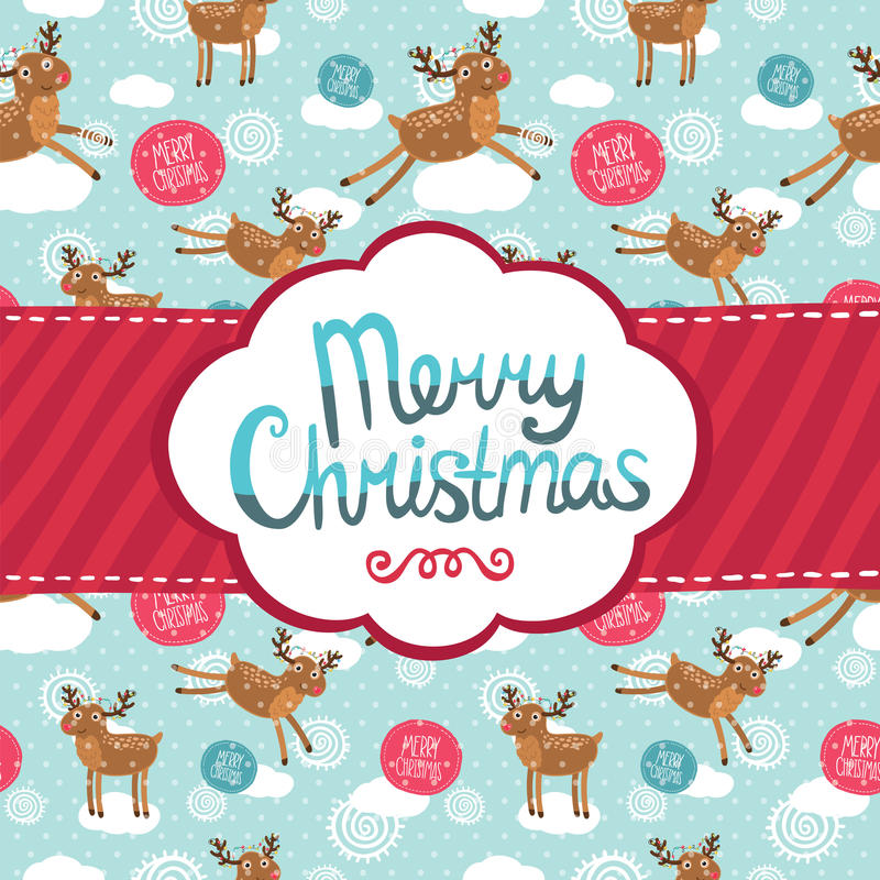 Merry Christmas greeting card with deer pattern. royalty free illustration