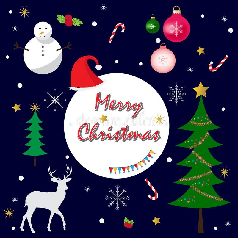 Merry christmas greeting card elements vector tree ornament snowflakes reindeer snowman star stock image