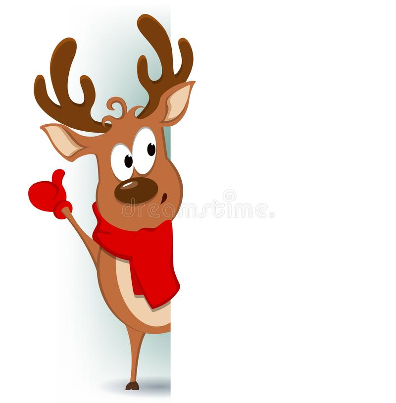 Merry Christmas greeting card with funny reindeer standing behind a sign and showing on blank placard vector illustration