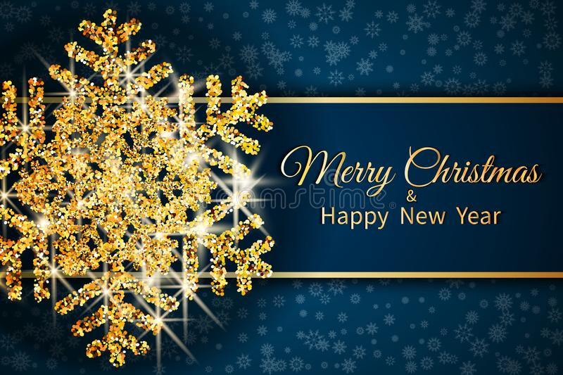Merry Christmas greeting card. Gold snowflake on Dark blue background. Merry Christmas and Happy New Year text. vector illustration