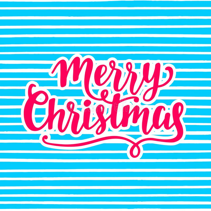 Merry Christmas greeting card. Hand lettering in pink and blue bright colors vector illustration