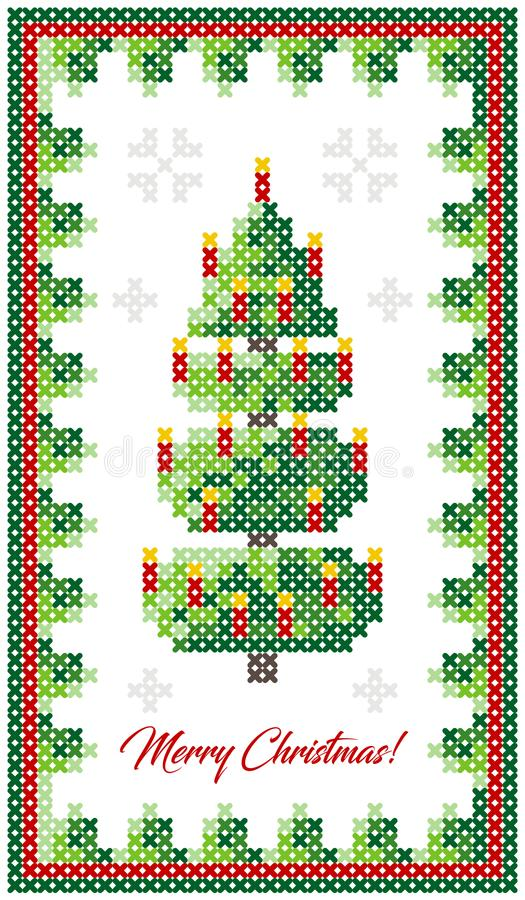 Merry Christmas greeting card, Happy New Year illustration. Christmas tree with decor, like cross-stitch. Christmas pattern. royalty free illustration