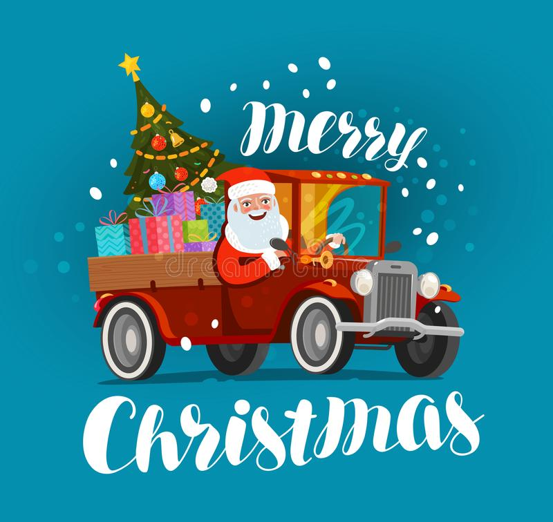 Merry Christmas, greeting card. Happy Santa Claus rides in retro car loaded with gifts. Xmas vector illustration. Merry Christmas greeting card. Happy Santa vector illustration