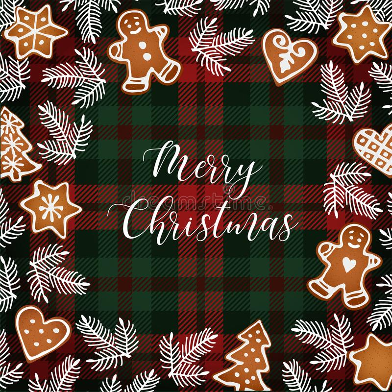 Merry Christmas greeting card, invitation with hand drawn Christmas tree branches and gingerbread cookies. White text vector illustration