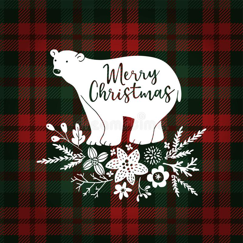 Merry Christmas greeting card, invitation. Hand drawn white polar bear with fir tree branches. Floral decoration with vector illustration