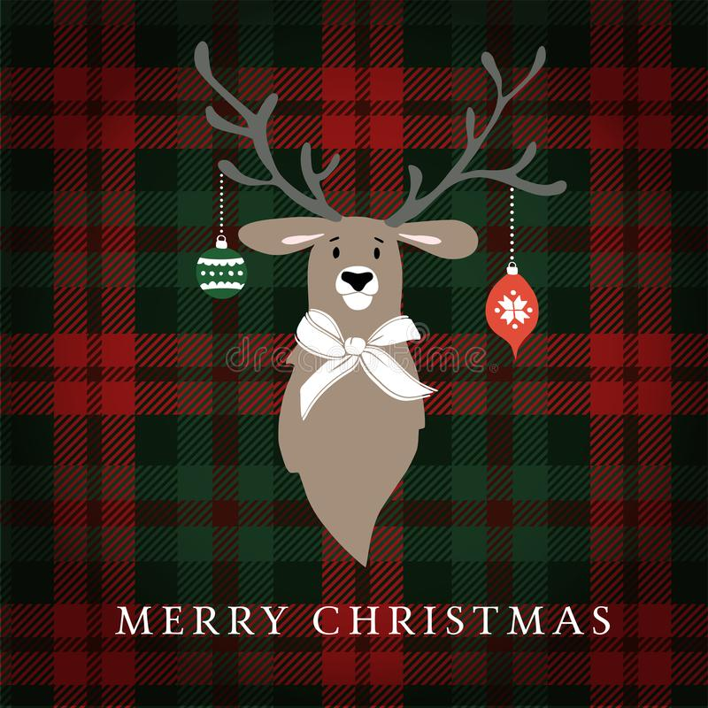 Merry Christmas greeting card, invitation. Reindeer with Christmas baubles and ribbon. Tartan checkered plaid, illustration stock illustration