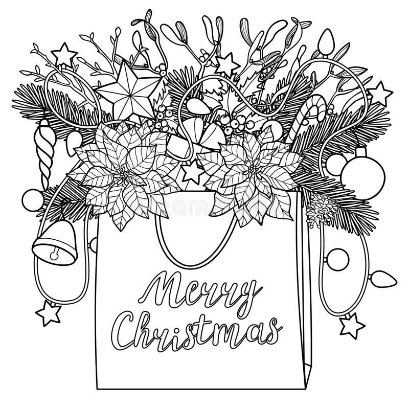 Merry Christmas Floral Coloring Page Greeting Card Instant: Merry Christmas Deer Outline Composition Stock Vector
