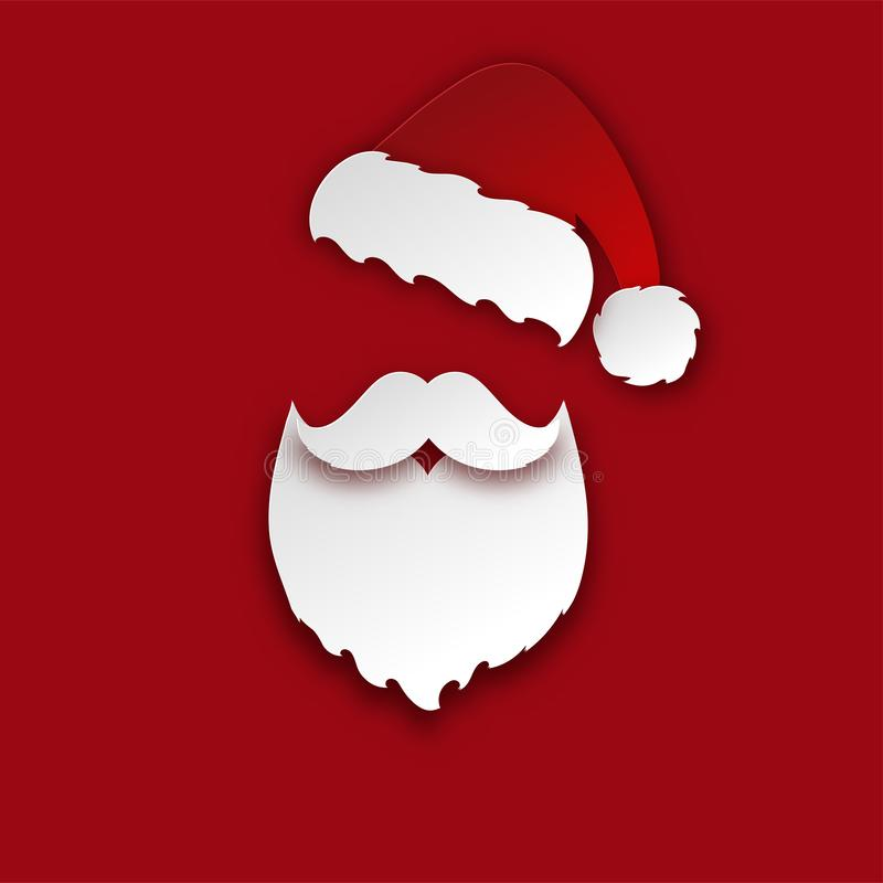Merry Christmas greeting card with paper hipster Santa Claus beard. Mustache and xmas hat. Modern paper cut style background. Vector illustration royalty free illustration