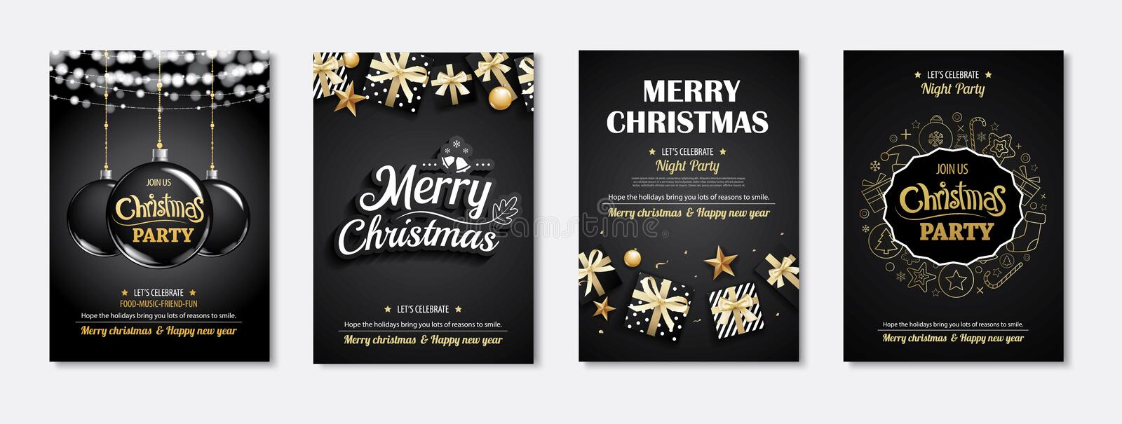 Merry christmas greeting card and party invitations on black background. Vector illustration element for happy new year flyer bro. Chure design vector illustration