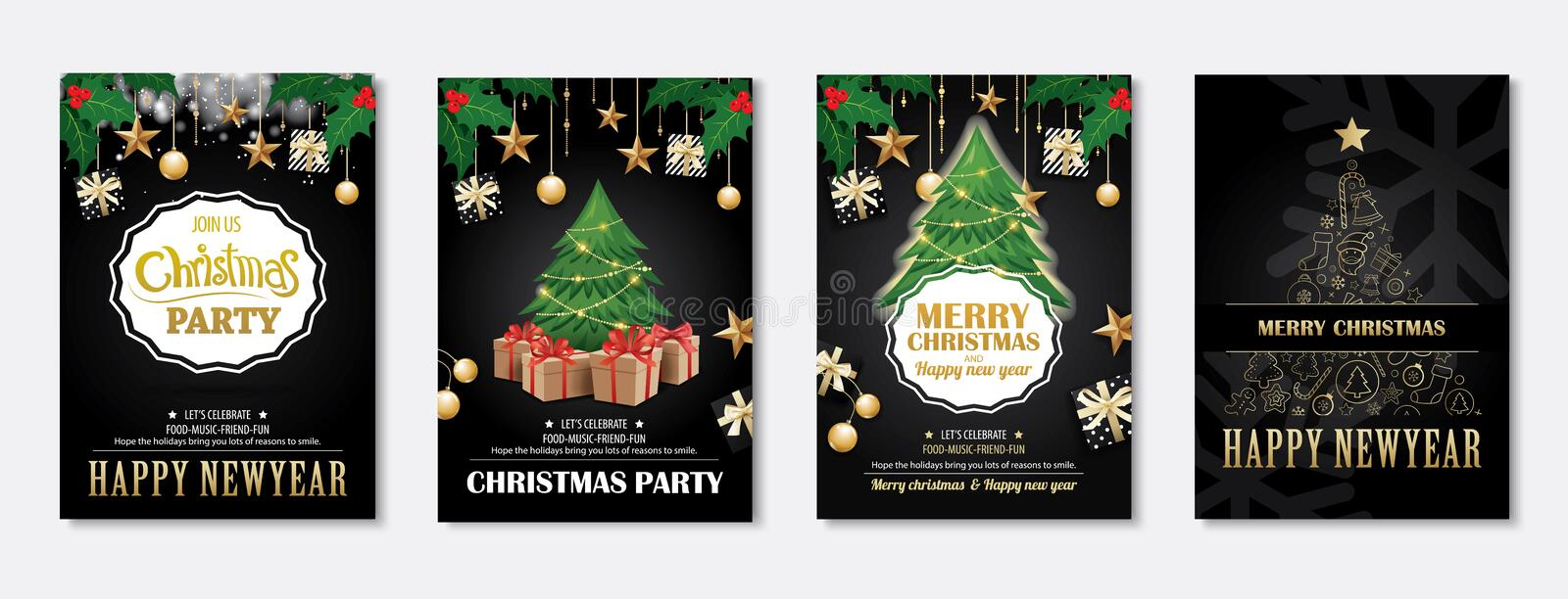 Merry christmas greeting card and party invitations on black background. Vector illustration element for happy new year flyer bro. Chure design stock illustration