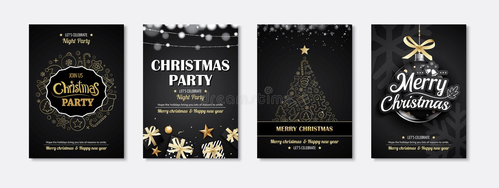Merry christmas greeting card and party invitations on black royalty free illustration