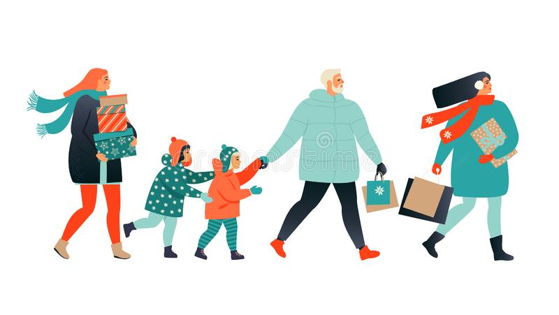 Merry Christmas greeting card with people walking and carrying present boxes. Xmas winter poster collection. vector illustration