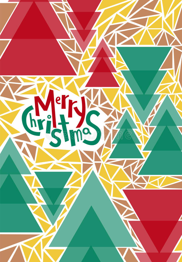Merry Christmas greeting card, print, poster, winter decoration, photo overlay, invitation, sticker design. Hand drawn lettering. Christmas trees abstract royalty free illustration