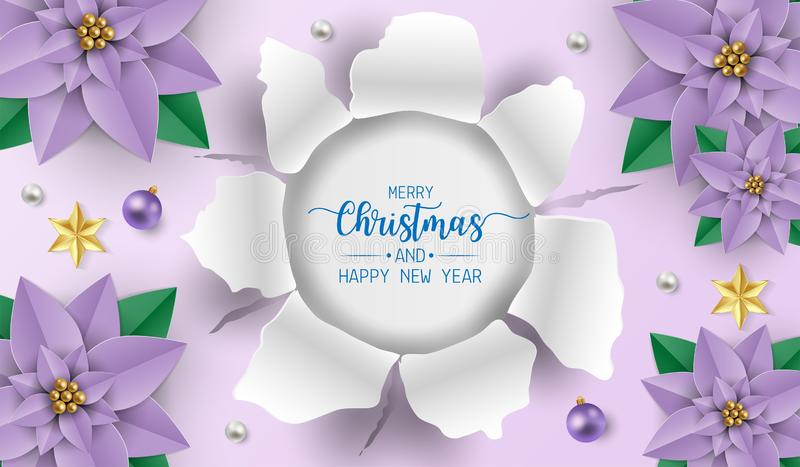 Merry christmas greeting card with purple poinsettia flowers, white and purple balls on purple background. Vector illustration stock illustration