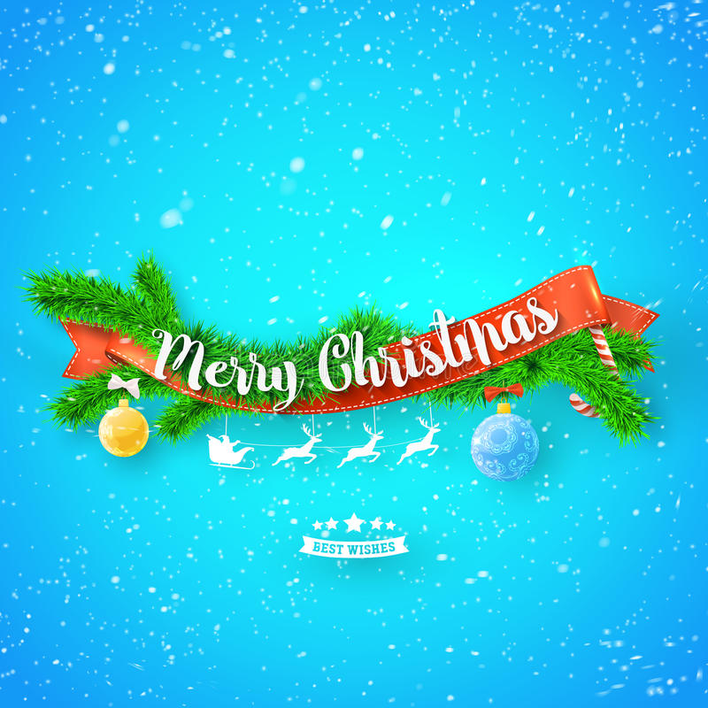 Merry Christmas greeting card with red ribbon, xmas tree and snow on blue background. stock illustration