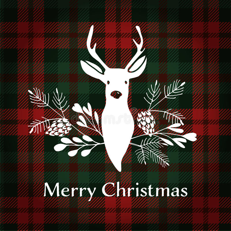 Merry Christmas greeting card. Reindeer with Christmas bouquet. royalty free illustration