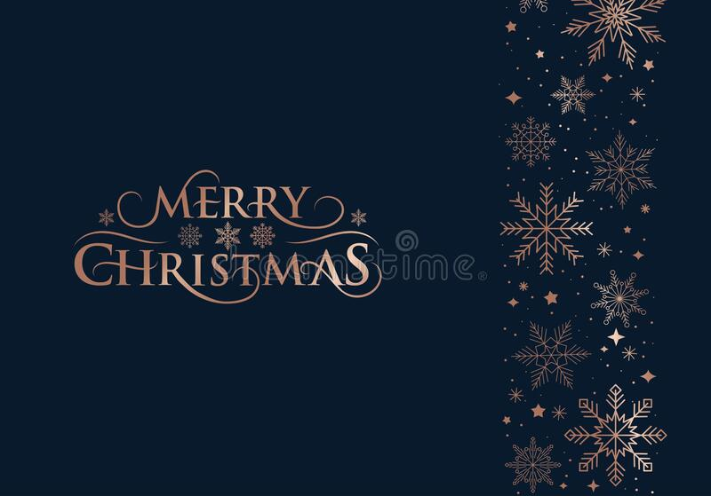 Merry Christmas Greeting Card With Rose Gold Snowflakes Icons On Navy Blue Background Stock Vector Illustration Of Navy Happy 192203584