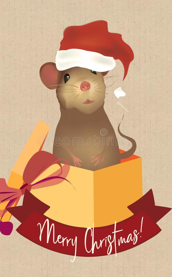 Merry Christmas Greeting Card with Santa Claus Mouse. Illustration of a Cute Little Mouse royalty free illustration