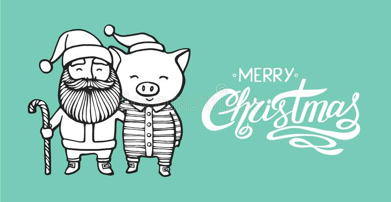 Merry Christmas greeting card with Santa Claus and Pig in a striped clothes, in a Santa`s red cap. 2019 year of the pig royalty free illustration