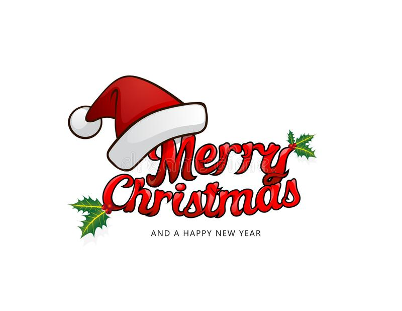 Merry christmas greeting card with Santa`s hat and fancy, plastic, cartoon Merry Christmas text vector illustration