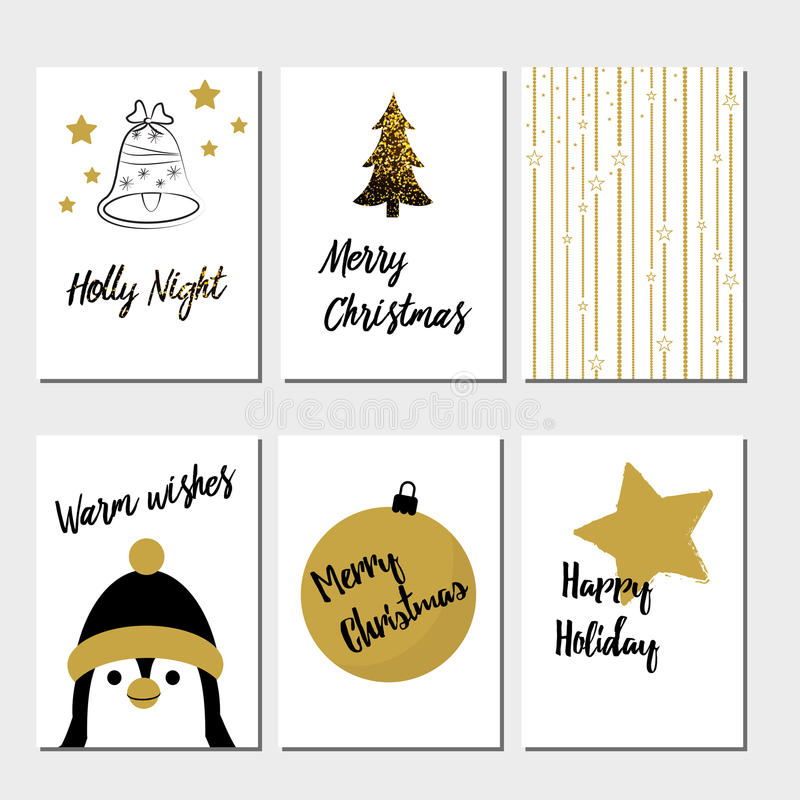 Merry Christmas greeting card set royalty free illustration
