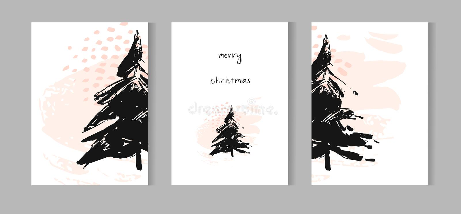 Merry Christmas greeting card set with cute xmas tree, santa and deer retro designs. Includes holiday themed seamless vector illustration