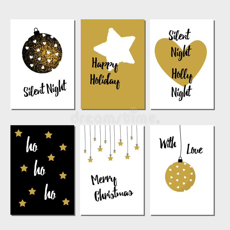 Merry Christmas greeting card set vector illustration