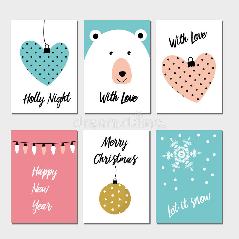 Merry Christmas greeting card set stock illustration