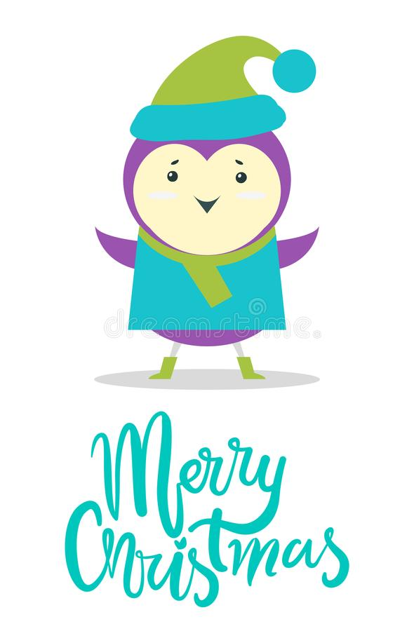 Merry Christmas Greeting Card Small Purple Bird. Merry Christmas greeting card with small purple bird in sweater and warm hat with pompon isolated cartoon flat stock illustration