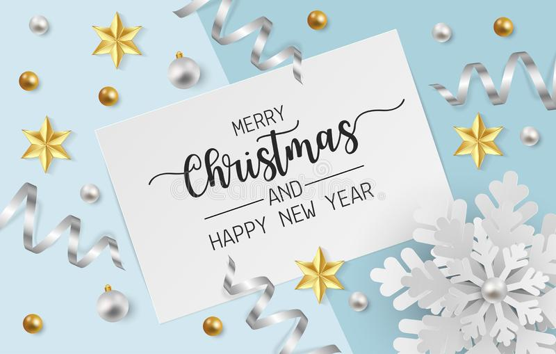 Merry christmas greeting card with snowflake, white and gold balls and gold star on light blue background. Vector illustration vector illustration