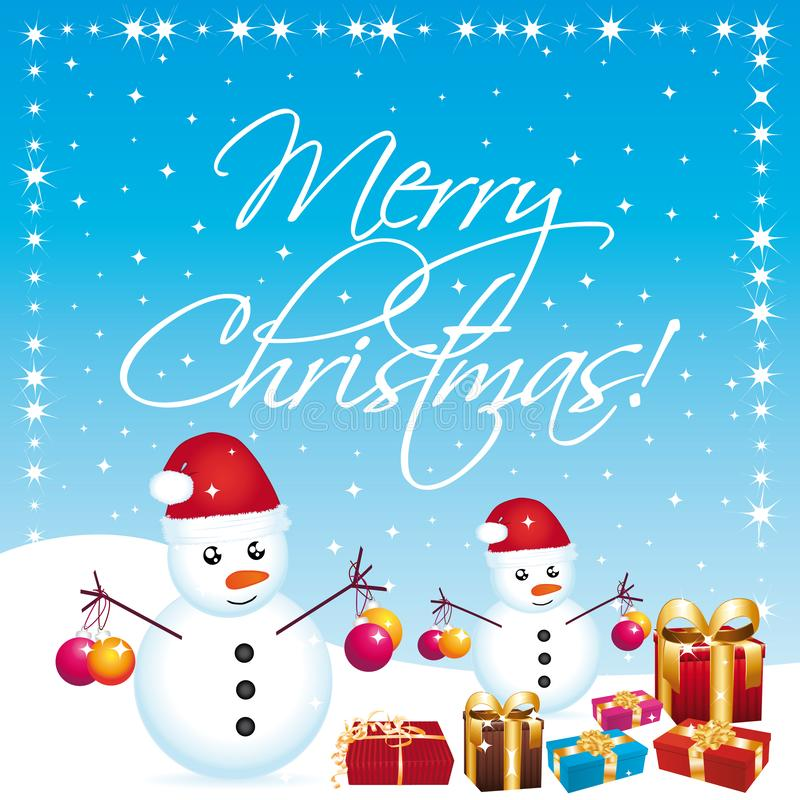 Merry christmas greeting card with snowmen and gifts. vector illustration