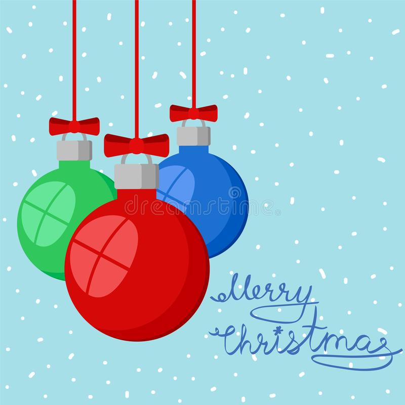 Merry Christmas greeting card on snowy background with red, green and blue decorative balls, stok vector illustration. Eps 10 royalty free illustration