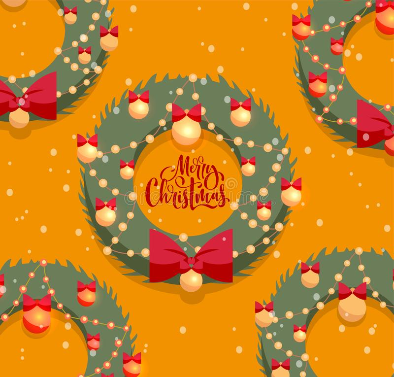 Merry Christmas greeting card with textured lettering. Christmas green wreaths decorated by red bow and golden balls on orange stock illustration
