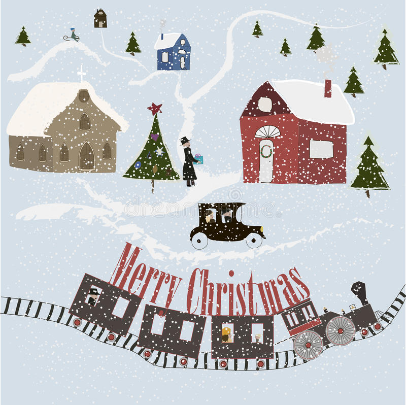 Merry Christmas greeting card. With town vector illustration