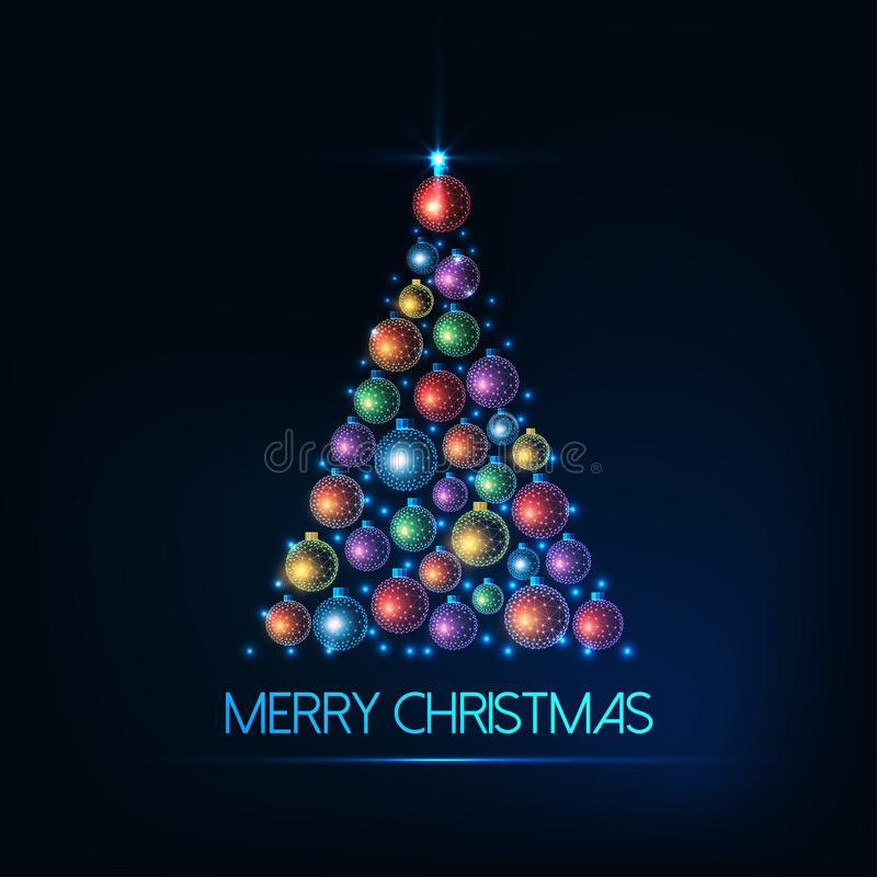 Merry Christmas greeting card with Christmas tree made of glowing colorful baubles and lights. royalty free illustration