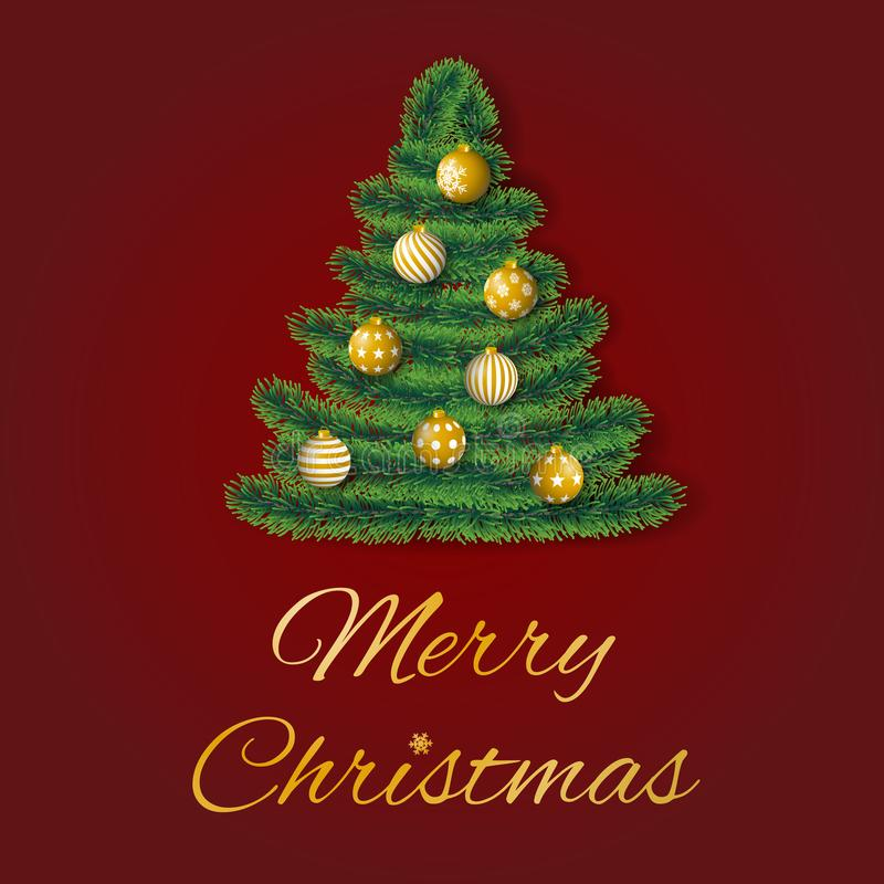 Merry Christmas greeting card vector with coniferous branches in shape of a tree decorated with golden ornaments on red background royalty free illustration