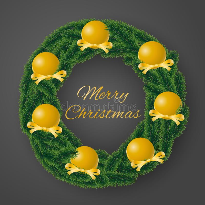 Merry Christmas greeting card vector of coniferous wreath with sumptuous golden bulbs and decorated ribbons on gray background royalty free illustration