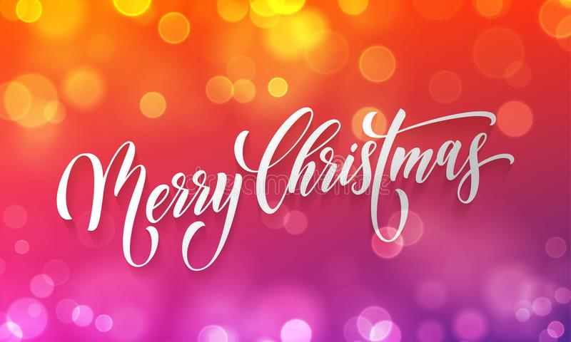 Merry Christmas greeting card vector golden light bokeh blur New Year background vector illustration