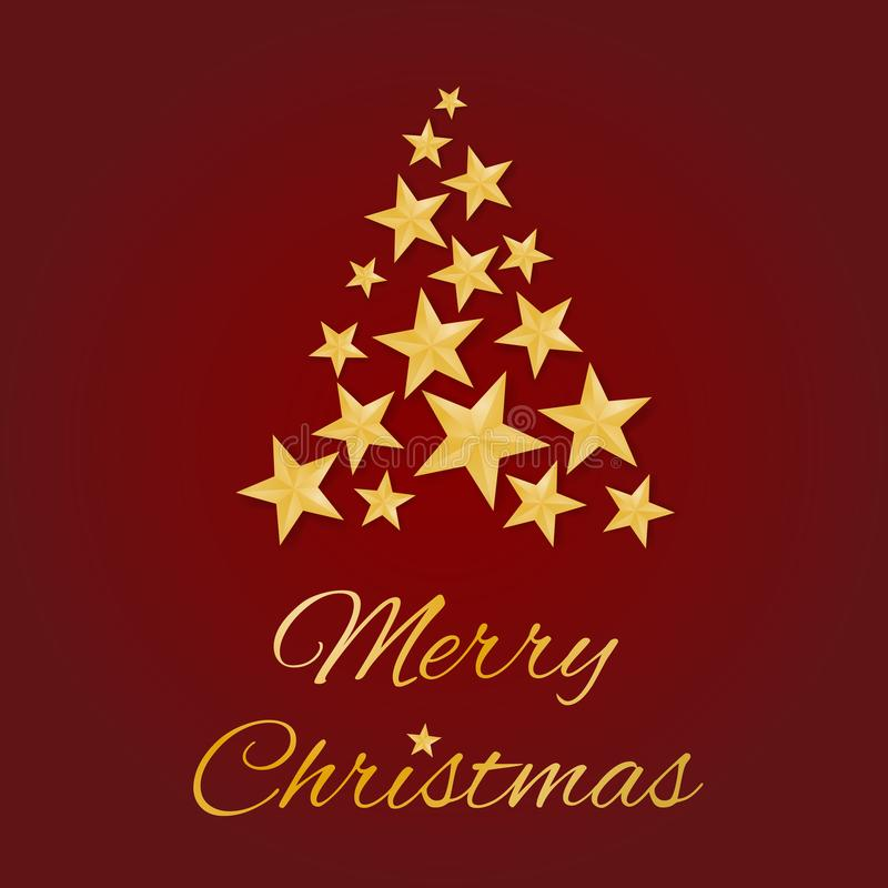 Merry Christmas greeting card vector with golden stars in shape of a tree on red background stock illustration